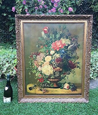Large Vintage Oil Painting On Canvas Still Life Gilt Frame Fiehl Reproduction