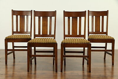 Set of 4 Craftsman Antique Oak Dining or Game Table Chairs, New Fabric #31695