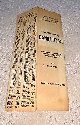 1958 DAN RYAN COOK COUNTY BOARD PRESIDENT CHICAGO STREET GUIDE Mayor Daley
