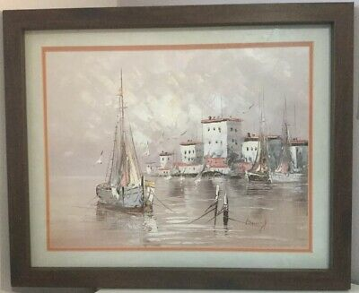 Vintage Original Oil Painting Of Moored Boats. Signed And Framed