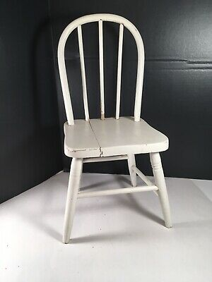 VTG Childs Shabby Chippy White Painted Chair Country Farmhouse Kitchen Doll Bear