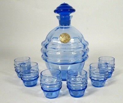 Antique Bohemian Czech Art Deco 1930s Blue Decanter Liquor Glass Set 6 Tumblers
