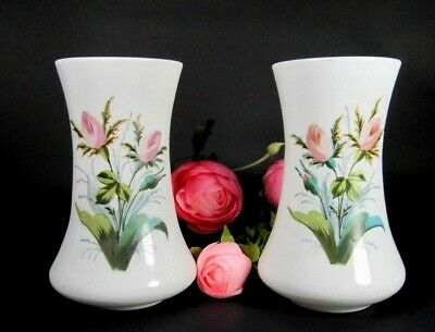 Antique Opaline Vase PAIR French Victorian Hand Painted Flowers Enameled Glass