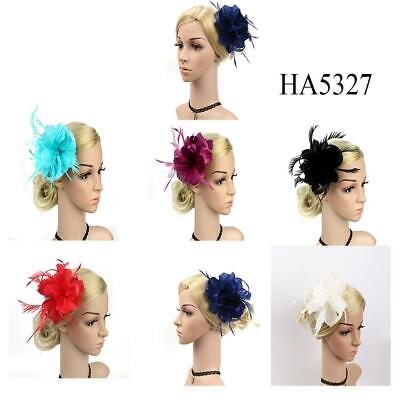 Brand New Feather Hair Fascinator Beaded Hair Clip Wedding Royal Ascot