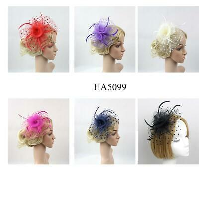 Brand New Feather Hair Fascinator Beaded Hair Clips Wedding Royal Ascot