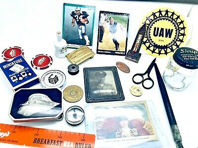 JUNK Drawer LOT Vintage COLLECTIBLES 3 Stooges Belt Buckle Tin military photo