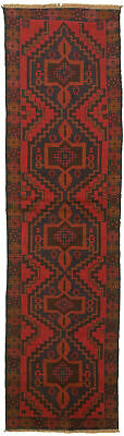 """Hand-knotted Carpet 2'4"""" x 9'3"""" Traditional Vintage Wool Rug"""
