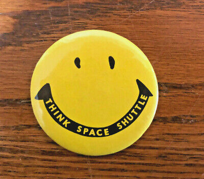 The Boeing Company THINK SPACE SHUTTLE Smiley Face Pin Button -- 1970s -- Rare!