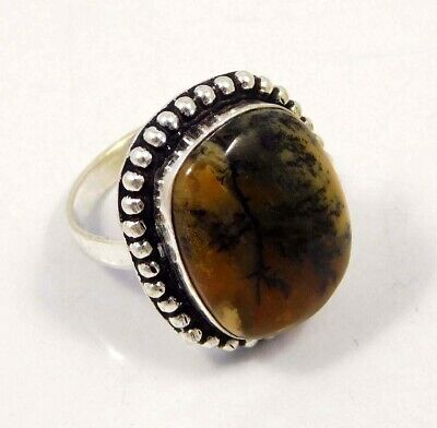 Honey Dendrite .925 Silver Plated Handmade Ring Size-8.75 Jewelry JC4401