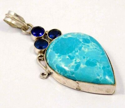 Larimar & Tanzanite Quartz .925 Silver Plated Handmade Pendant Jewelry JC4646
