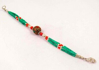 Turquoise & Coral .925 Silver Plated Handmade Bracelet Jewelry JC5902