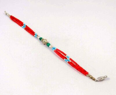 Turquoise & Coral .925 Silver Plated Handmade Bracelet Jewelry JC5886