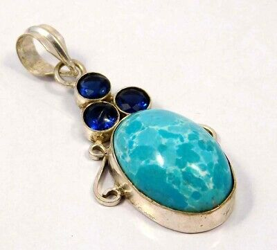 Larimar & Tanzanite Quartz .925 Silver Plated Handmade Pendant Jewelry JC4624