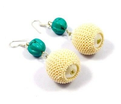 Vintage Style Turquoise & White Beads Designer Earrings Jewelry W6 (30)