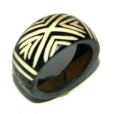 100% Natural Bone Carving Designer Handmade Fashion Jewelry Ring Size 9 R845