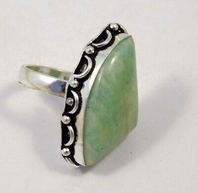 Amazonite .925 Silver Plated Handmade Ring Size-8.75 Jewelry JC4423