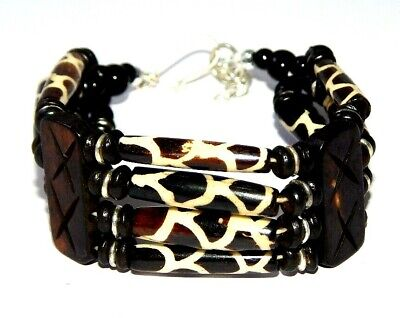 Graceful Fashion Painted Design Bone Bracelets With Chain Antique Jewelry B108