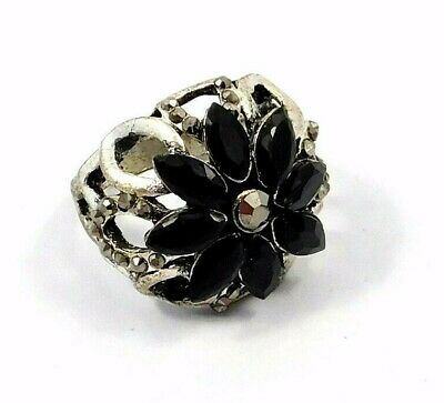 Charming Black Onyx Silver Carving Jewelry Ring Size 8.50 JC9068