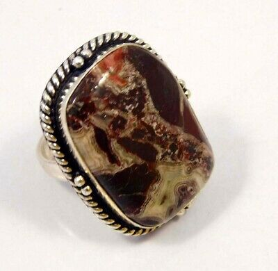 Crazy Lace Agate .925 Silver Plated Handmade Ring Size-8.75 Jewelry JC4359