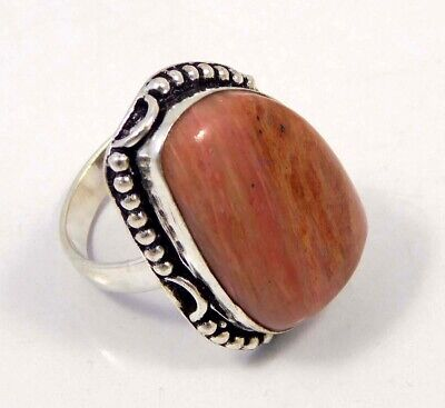 Pink Calcite .925 Silver Plated Handmade Ring Size-8.75 Jewelry JC4364