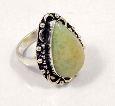 Green Jade .925 Silver Plated Handmade Ring Size-8.75 Jewelry JC4400
