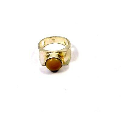 Yellow Agate .925 Silver Plated Handmade Ring Size- 7.75 Jewelry JC9765
