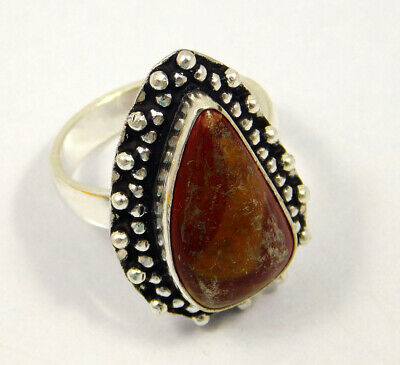 Red Jasper .925 Silver Plated Handmade Ring Size-7.75 Jewelry JC4010