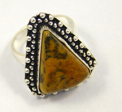 Honey Dendrite .925 Silver Plated Handmade Ring Size-7.75 Jewelry JC4011
