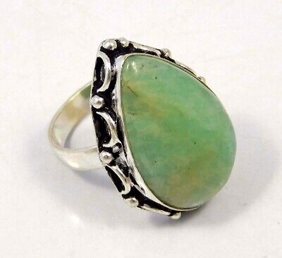 Amazonite .925 Silver Plated Handmade Ring Size-8.75 Jewelry JC4412