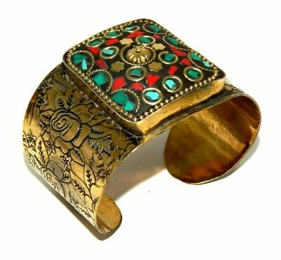 Awesome Tibetan Golden Turquoise Coral Design Handmade Cuff Jewelry CC79