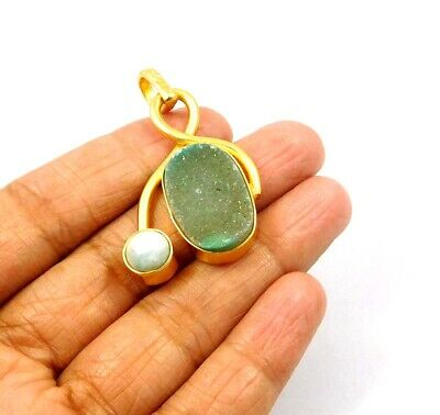 Sugar Druzy & Larimar Gold Plated Handmade Pendant Jewelry JC9761