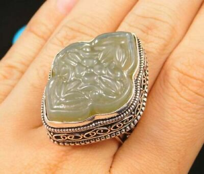 Charming Chalcedony Silver Carving Jewelry Ring Size 8 JC1655