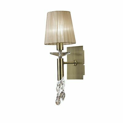 Tiffany Wall Lamp Switched 1+1 Light, Antique Brass With Soft Bronze Shade