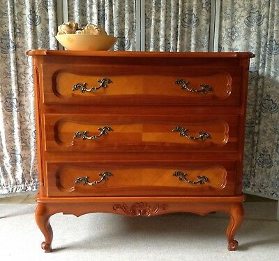 Large Vintage French Louis Cherry Wood Chest Of Drawers - Solid Wood - Stunning