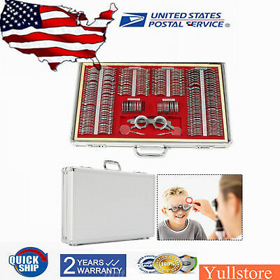 NEW 266 pcs Optical Trial Lens Set Metal Rim Aluminum Case Optometry Kit w/ Box