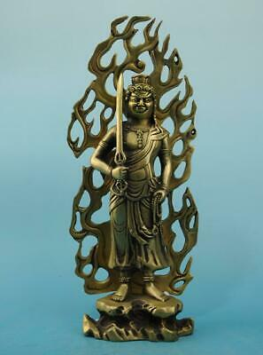 chinese old  copper  hand engraving Acalanatha Buddha statue e02
