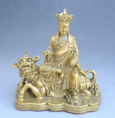 Old Chinese fengshui copper hand-carved Ksitigarbha sit lion statue e02