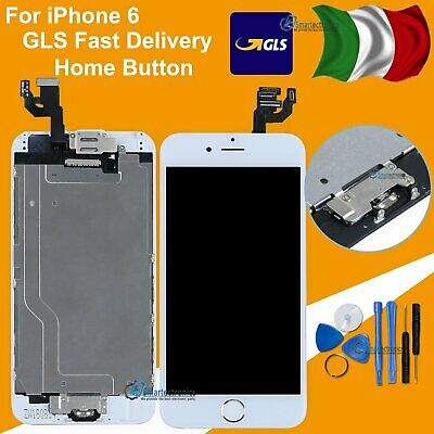 Touch Schermo Frame Vetro Lcd Display Per Apple Iphone 6 6G + Home Button Bianco
