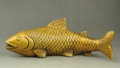 Chinese old fengshui copper hand engraving  propitious fish statue e02