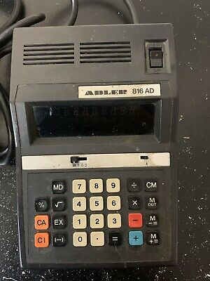 Vintage Calculator Adler 816 AD With Power Cord Made in Japan