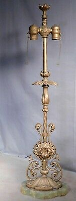 Antique Brass Wrought Iron Onyx Bronze Cast Iron Arts Crafts table Lamp ORNATE