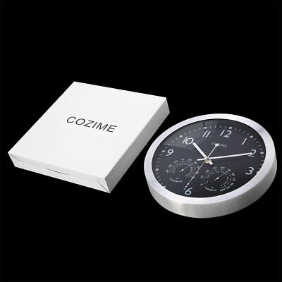 New 12 Inch Metal Frame Round Wall Clock With Thermometer Hygrometer Display-%