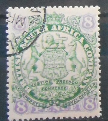 Rhodesia (British South Africa) - 8d Green and Mauve - SG34 - light cancel