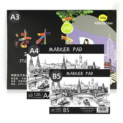 A3/A4/B5 Drawing Paper Pad Notebook Sketch Book for Marker Art Paiting 30 Sheets