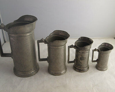 Fine Set Of 4 Graduated Antique French Pewter Measures - Kitchenalia