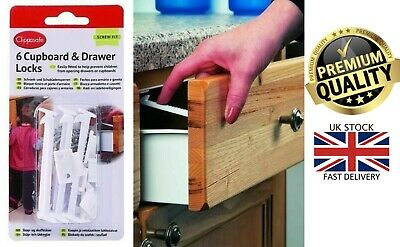 Clippasafe 6 Pack Cupboard Drawer Lock Secure Catches Safety Baby Child Proofing