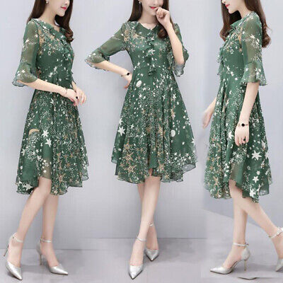 Womens Sexy Short Sleeve Floral Print Chiffon V-neck Party Casual A-line Dress