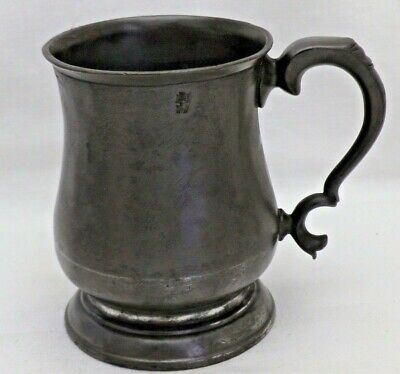 Victorian Antique Pewter One Pint Bulbous Tankard Public House Tavern