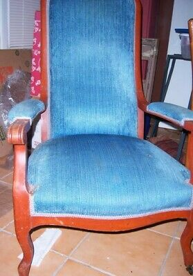 Chair, Carved, Upholstered, Antique, Blue, 47 inches tall, front legs have wheel