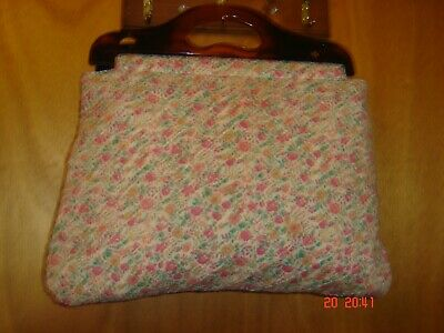 Vintage Quilted Wool Yarn Needle Knitted Bag
